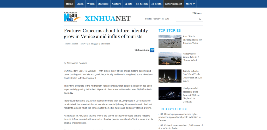 The biggest news agency in the world, Xinhua, quotes Venezia Autentica regarding the effect of mass tourism in Venice - Venezia Autentica | Discover and Support the Authentic Venice - The Chinese news agency highlights the reasons behind the recent protests in Venice and reports some of Venezia Autentica's concerns regarding the effects of