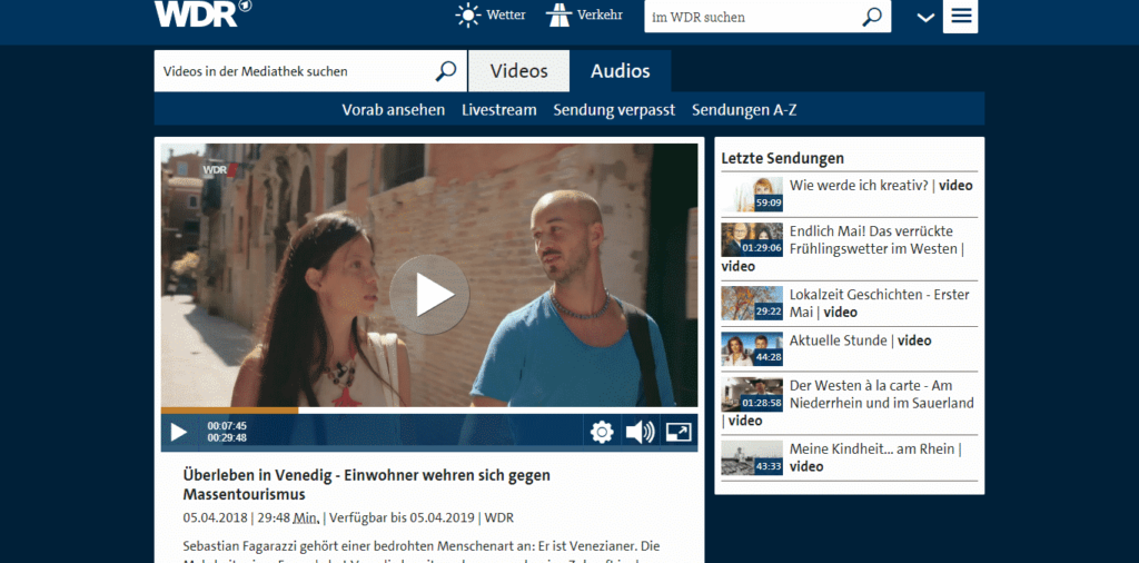 German TV Channel WDR airs a documentary with Venezia Autentica as protagonist - Venezia Autentica | Discover and Support the Authentic Venice - In November 2017, WDR aired a 40 minutes reportage showing and describing the challenges of life in Venice and the negative effects brought by mass tourism. The show highlights the work of young Venetians to improve the situation. Venezia Autentica's team are protagonists of the show.