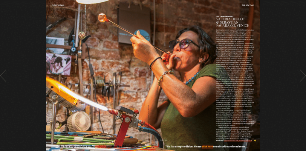National Geographic Traveller features Valeria Duflot and Sebastian Fagarazzi as the entrepreneurs in the New Italy coverstory - Venezia Autentica | Discover and Support the Authentic Venice - The work to preserve Venice local businesses of Valeria Duflot and Sebastian Fagarazz featured in NGT National Geographic Traveller's May 2018 Issue dedicates