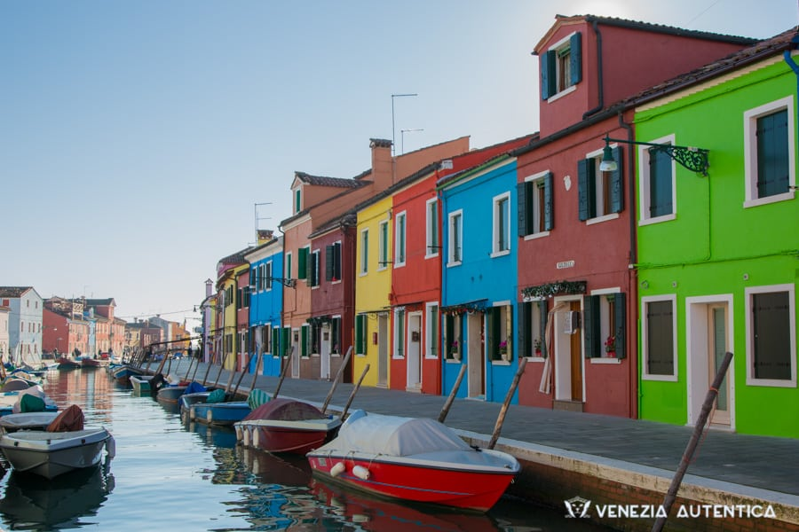 The colourful houses of Burano, a fisherman island on the Venetian Lagoon