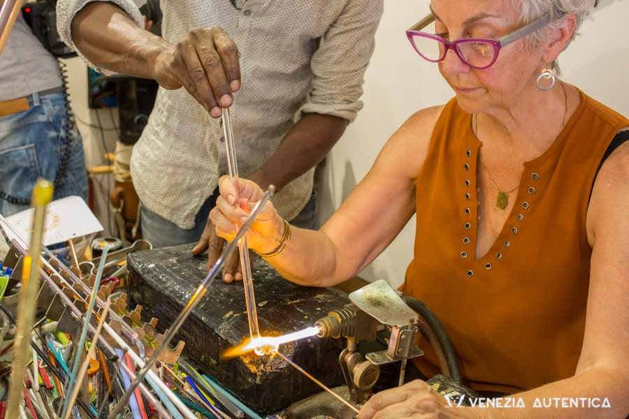 Murano glass bead making lesson in Venice