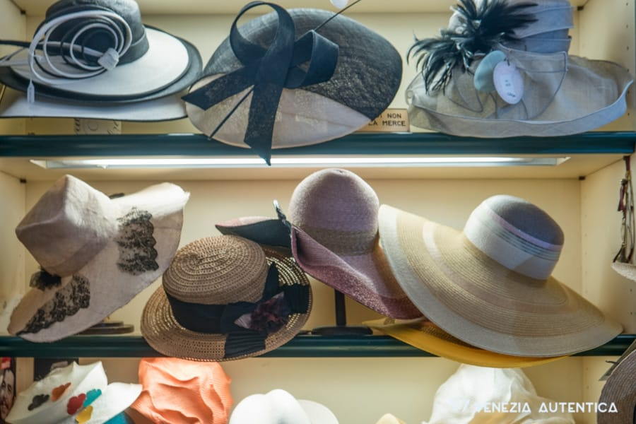 Women's hats in Giuliana Longo's shop in Venice