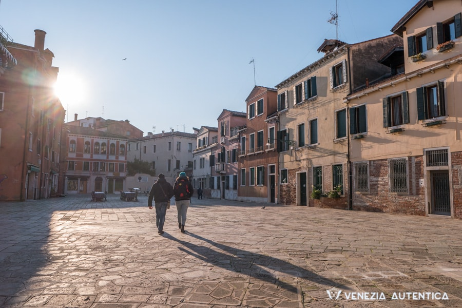 People walking in Campo Nazario Sauro in Venice, in the district of Santa Croce