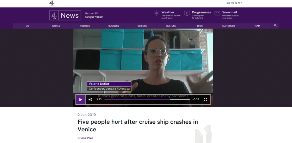 Channel 4 News Interviews Valeria Duflot About Cruise Ship Incident - Venezia Autentica | Discover and Support the Authentic Venice - In their TV coverage of the cruise ship accident in Venice, Channel 4 News asked for Valeria Duflot's insight on the complex debate regarding cruise ships.In