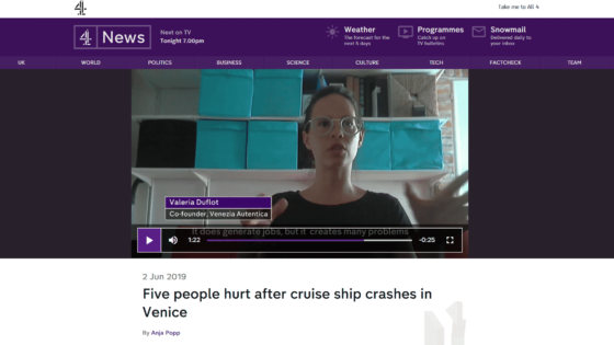 Channel 4 News Interviews Valeria Duflot About Cruise Ship Incident - Venezia Autentica | Discover and Support the Authentic Venice - The work to preserve Venice local businesses of Valeria Duflot and Sebastian Fagarazz featured in NGT National Geographic Traveller's May 2018 Issue dedicates a