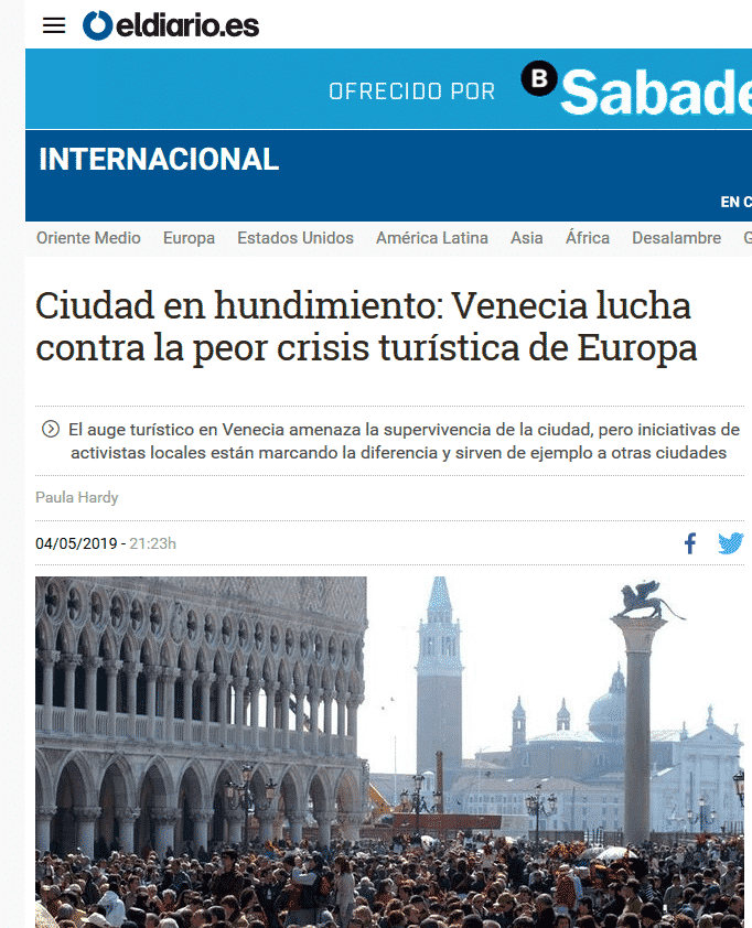 El Diario Highlights Venezia Autentica As One Of The Solutions To Overtourism In Venice - Venezia Autentica | Discover and Support the Authentic Venice - In their article covering mass tourism in Europe, and specifically in Venice, El Diario presents Venezia Autentica as a key change-maker in the fight against de