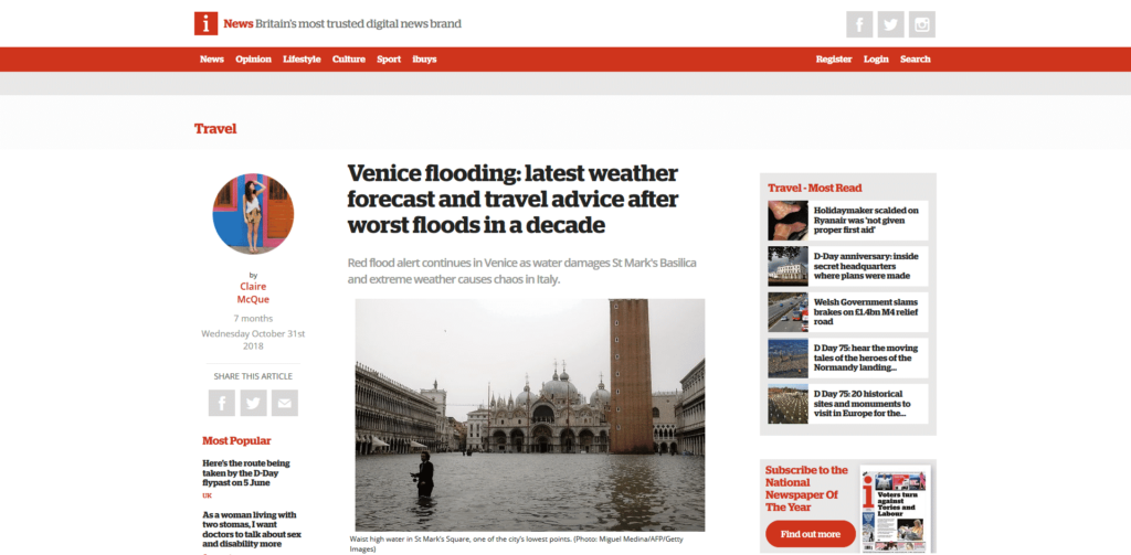 iNews Quotes Venezia Autentica's Experts Regarding Acqua Alta - Venezia Autentica | Discover and Support the Authentic Venice - As Venice experienced record flooding in 2018, iNews turned to Venezia Autentica experts for insight.As Venice experienced record-breaking flooding from the