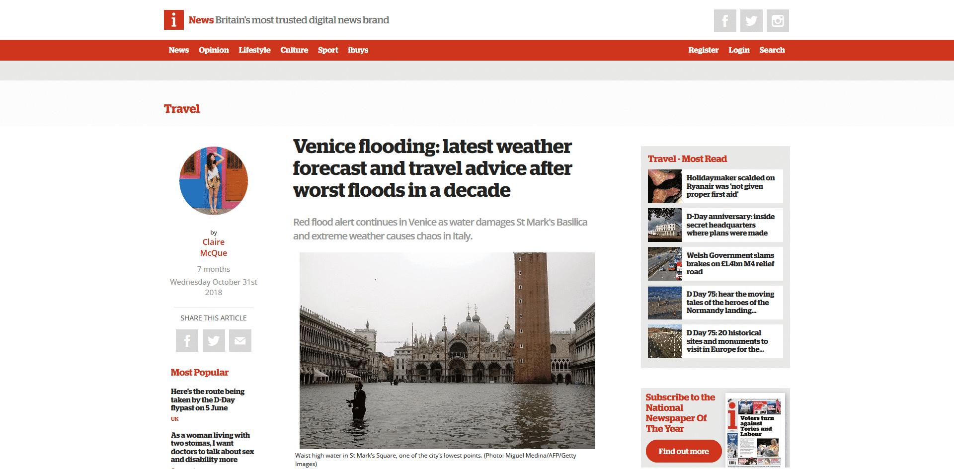 iNews Quotes Venezia Autentica's Experts Regarding Acqua Alta - Venezia Autentica | Discover and Support the Authentic Venice -