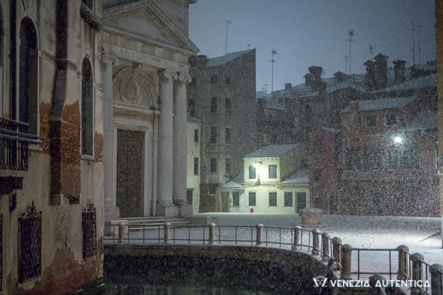 Snow in Venice during heavy snowfall