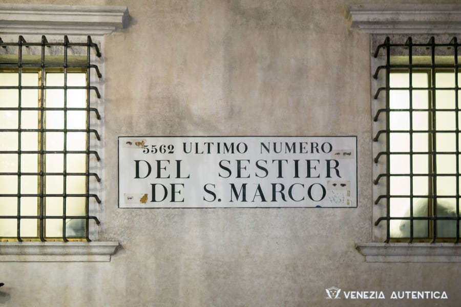 Sign indicating the highest and last house number in Venice, in the district of Saint Mark's