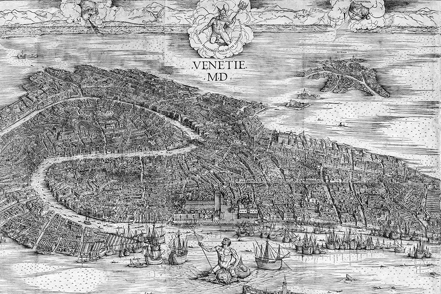 """View of Venice"", the legendary map of Venice by Jacopo De Barberi created in 1500 C.E."