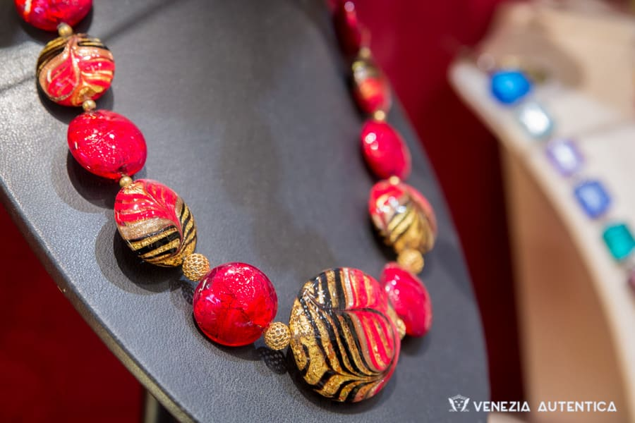 Beautiful red and gold Murano Glass Necklace