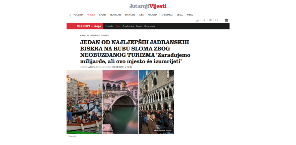 Croatian Newspaper Features Venezia Autentica as a Sustainable Tourism Solution - Venezia Autentica | Discover and Support the Authentic Venice - In their recent article about Venice's mass-tourism situation and the possible solutions, Jutarnji List mentioned Venezia Autentica and its innovative