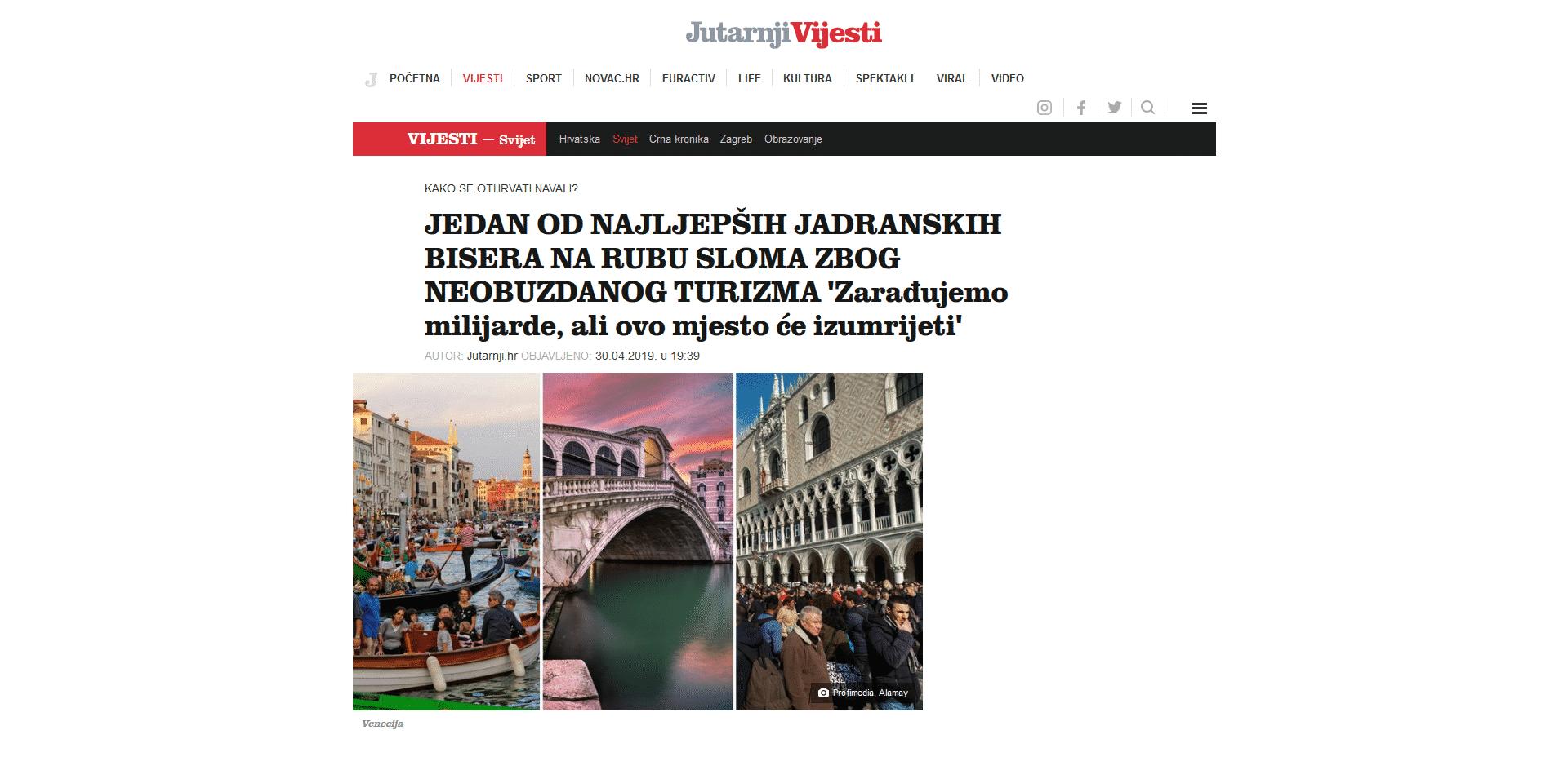 Croatian Newspaper Features Venezia Autentica as a Sustainable Tourism Solution - Venezia Autentica | Discover and Support the Authentic Venice -