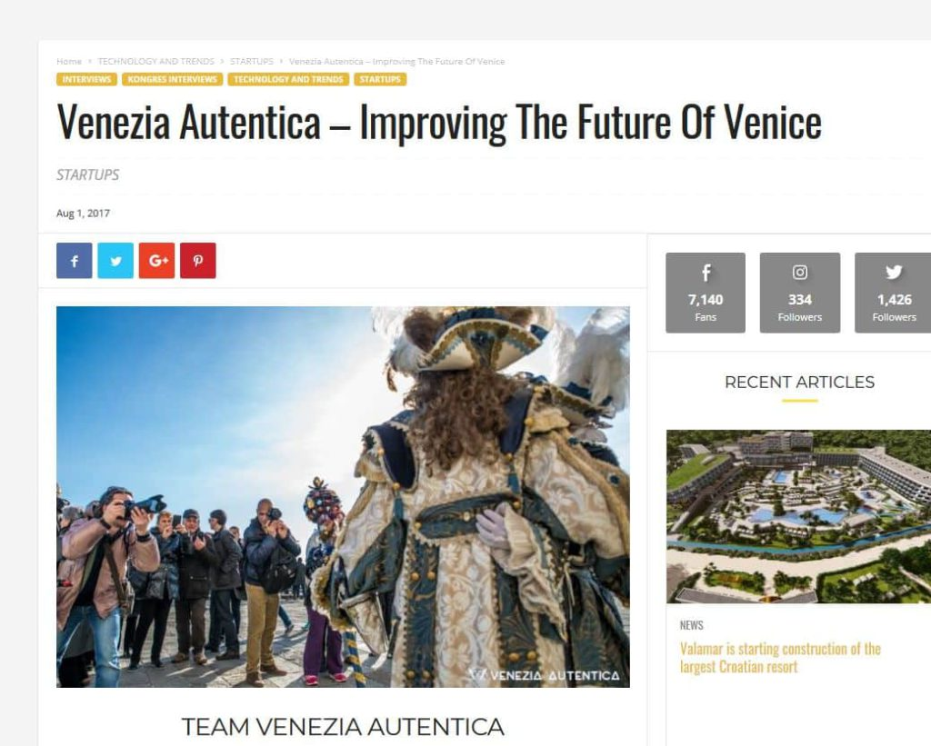 Kongres Magazine Dedicates a Full Feature to Venezia Autentica - Venezia Autentica | Discover and Support the Authentic Venice - This Q&A article with Valeria Duflot and Sebastian Fagarazzi reveals the dream behind their start-up and the driving forces behind their workIn August 2017,