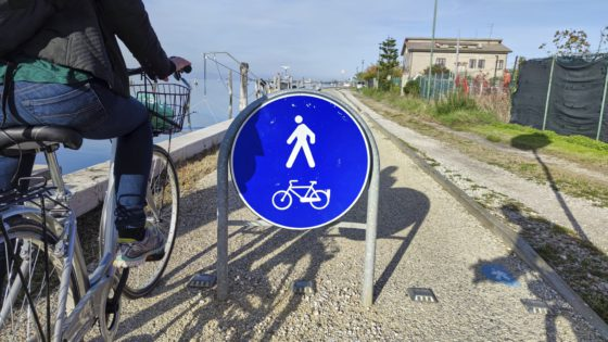 One of the many bycicle lanes in Venice,Italy