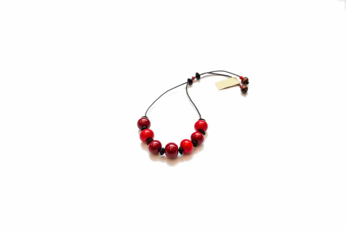 """""""Winter Cherry"""" Bracelet Shop by Venezia Autentica - Shop by Venezia Autentica - Elegant deep-red Murano Glass bracelet, designed and handmade in Venice, Italy. Every bead, crafted by lampworking, is unique, beautiful, and durable."""