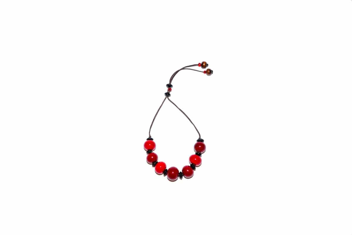 """Winter Cherry"" Bracelet Shop by Venezia Autentica - Shop by Venezia Autentica - Elegant deep-red Murano Glass bracelet, designed and handmade in Venice, Italy. Every bead, crafted by lampworking, is unique, beautiful, and durable."