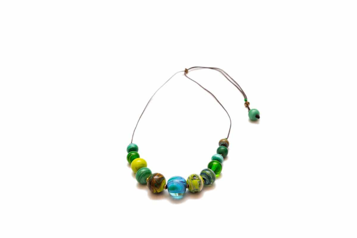 """""""Venice Canals"""" Necklace Shop by Venezia Autentica - Shop by Venezia Autentica - Beautiful Murano Glass necklace in different shades of green, handmade in Venice, Italy. Every bead, crafted by lampworking, is unique, beautiful, and durable"""