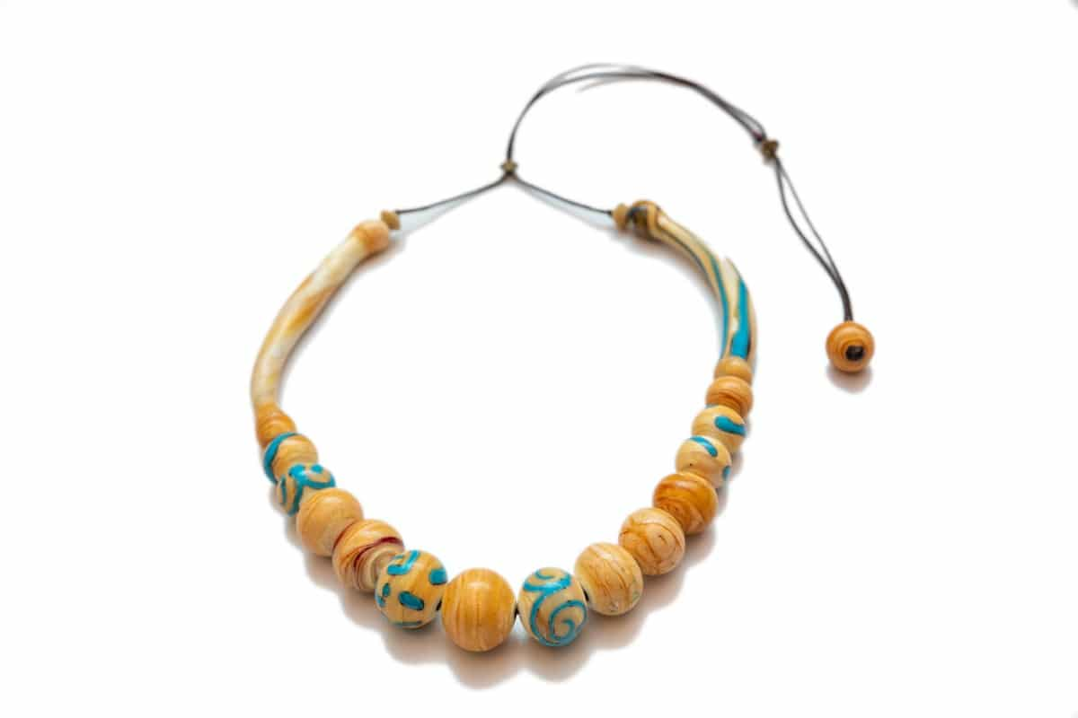 """Vanilla Sky"" Necklace Shop by Venezia Autentica - Shop by Venezia Autentica - Stunning Vanilla&Blue Murano Glass necklace, designed and handmade in Venice, Italy. Every bead is unique and beautiful, and handmade through lampworking"