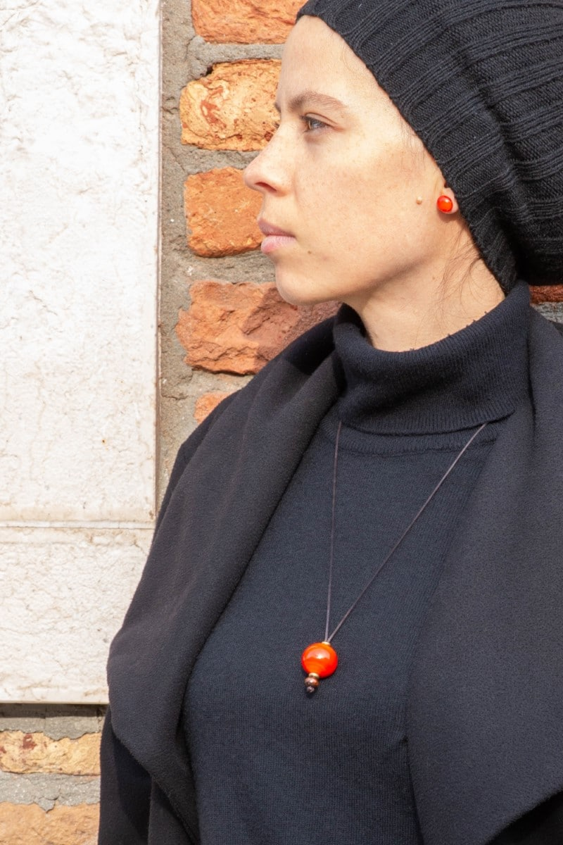 """""""City Robin"""" Necklace Shop by Venezia Autentica - Shop by Venezia Autentica - Elegant necklace with a beautiful orange/red Murano Glass pendant, designed and handmade in Venice, Italy. The pendant is a unique piece, crafted by lampworking"""