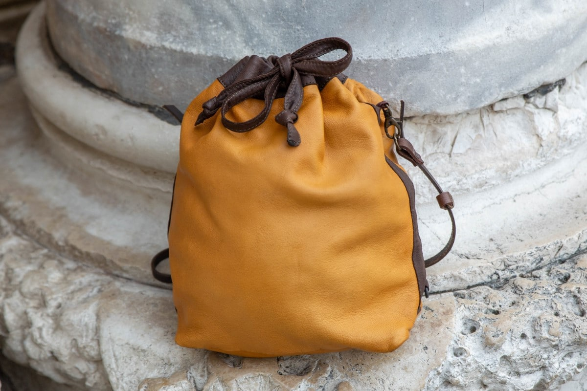 """Bucket Leather Bag Shop by Venezia Autentica - Shop by Venezia Autentica - Marvelous handmade soft leather bag, entirely handstitched in Venice, Italy, by a master artisan. This """"bucket"""" bag is unique, high-quality, and customizable!"""