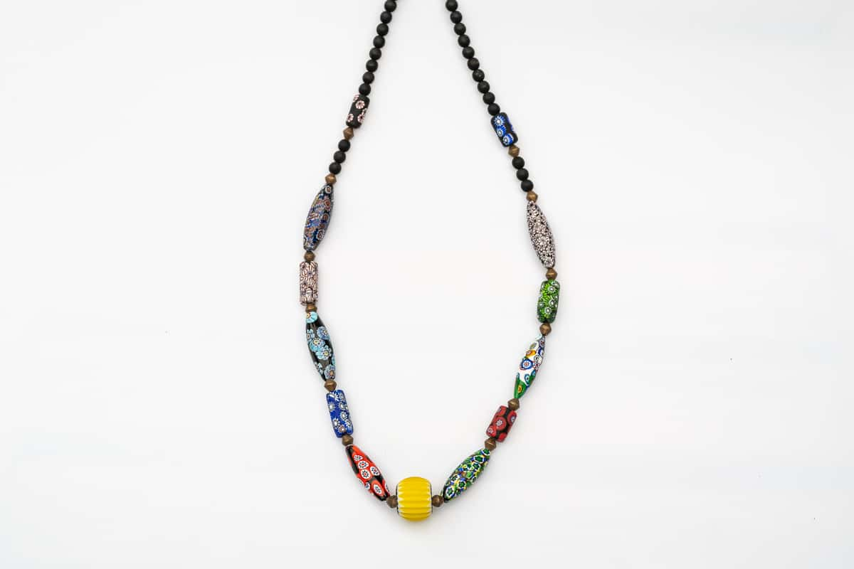 """Murano Flower Power"" Necklace Shop by Venezia Autentica - Shop by Venezia Autentica - Colorful and artsy, this beautiful handmade Murano Glass necklace for women with its mix of antique and new design beads, will catch your eyes!"