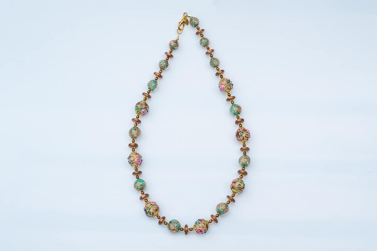 """Venice Roses"" Necklace Shop by Venezia Autentica - Shop by Venezia Autentica - Gold and green Murano Glass necklace with roses. A unique necklace, entirely made by hand in Venice, for women who love roses, delicate colors, and elegance."
