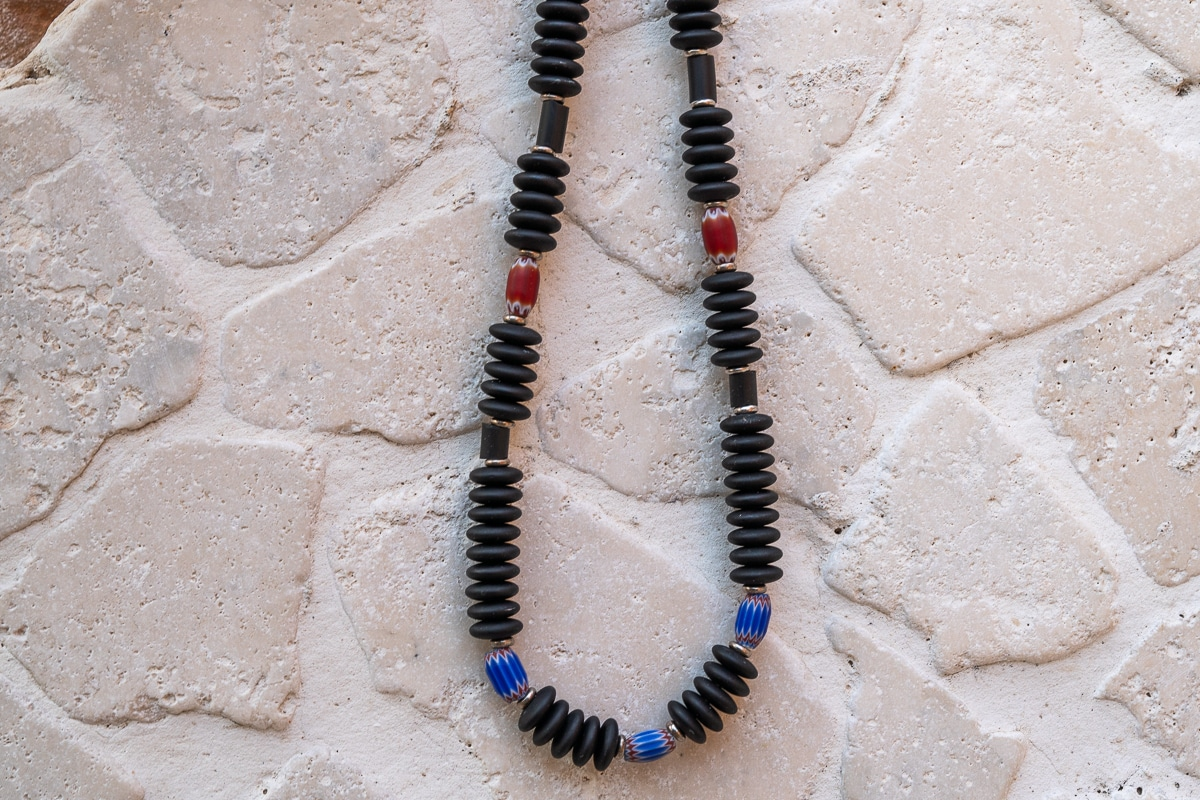 """Everyday"" Man Necklace Shop by Venezia Autentica - Shop by Venezia Autentica - Beautiful Murano glass necklace for men, handmade in Venice. A smart mix of modern Murano Glass beads and world-famous antique ""Rosetta"" beads."