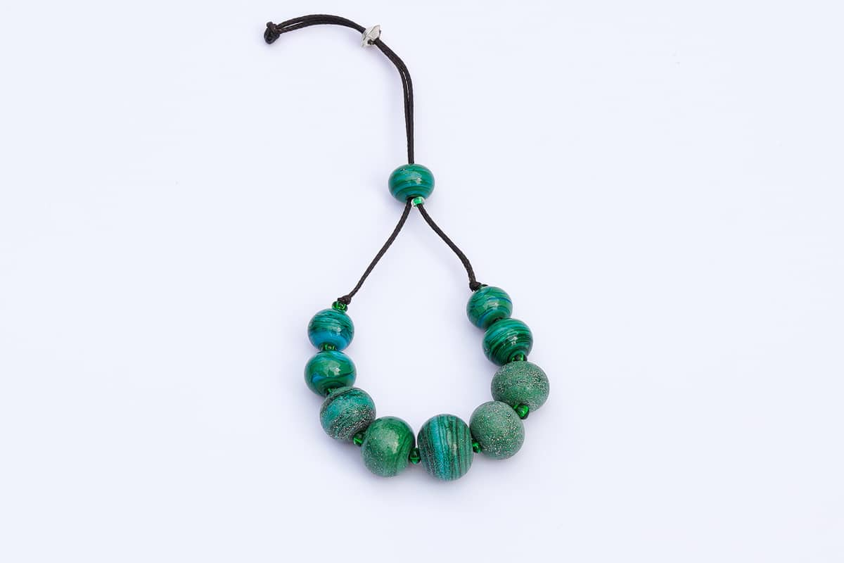 """""""Green Earth"""" Bracelet Shop by Venezia Autentica - Shop by Venezia Autentica - Elegant Murano Glass bracelet with green and blue beads, 100% handmade in Venice, Italy. Every bead, crafted by lampworking, is unique, beautiful, and durable."""