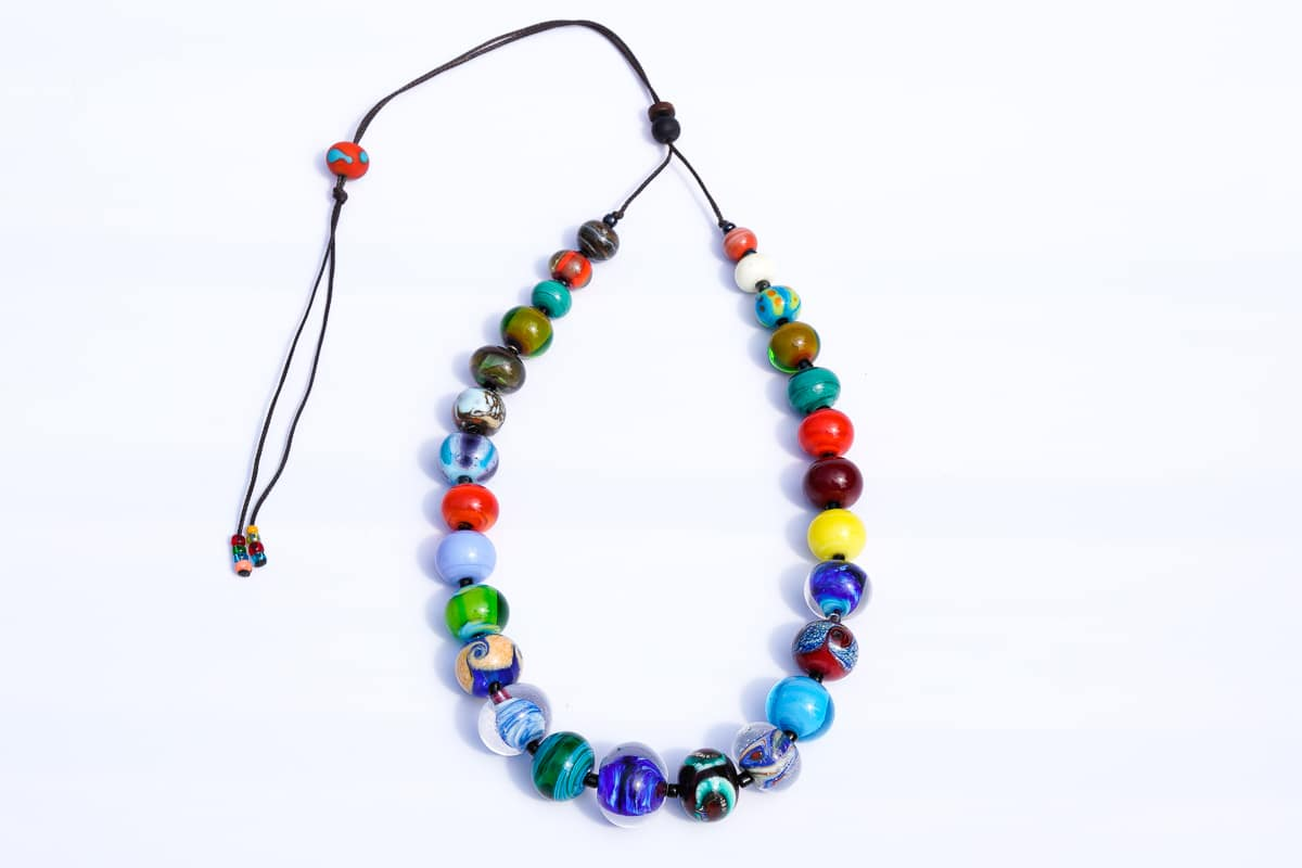 """One of a Kind"" Necklace Shop by Venezia Autentica - Shop by Venezia Autentica - Beautiful and colorful Murano Glass necklace, designed and handmade in Venice. If you're looking for stunning colors, this is the right necklace for you!"