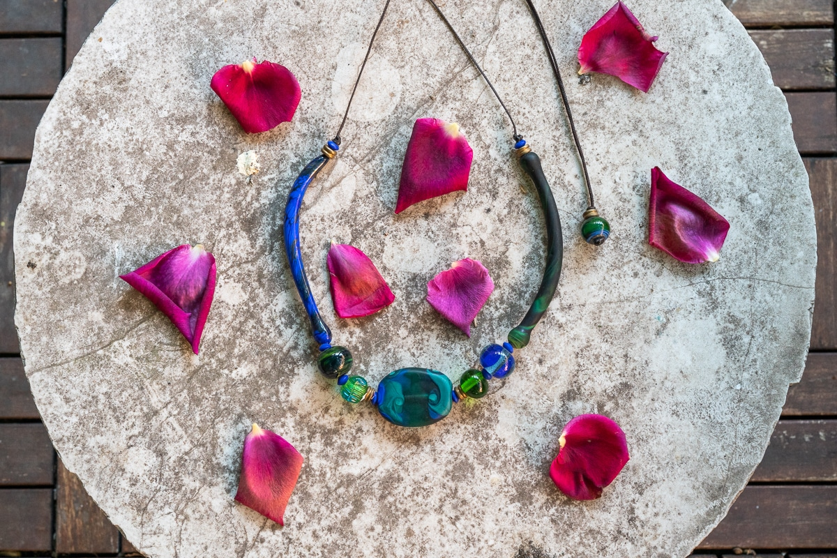 """""""Venice Callydria"""" Necklace Shop by Venezia Autentica - Shop by Venezia Autentica - Beautiful blue and green Murano Glass necklace, lampworked in Venice. The mix of incredible colors, shapes and elegance make it the perfect everyday accessory."""